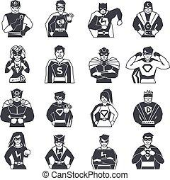 ícones, pretas, jogo, superhero, branca