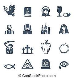 ícones, pretas, jogo, vetorial, religião