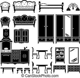 ícones, pretas, mobília