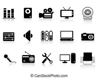 ícones, pretas, vídeo, áudio, foto