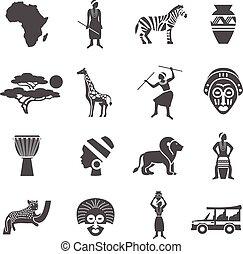 ícones, preto áfrica, jogo, branca