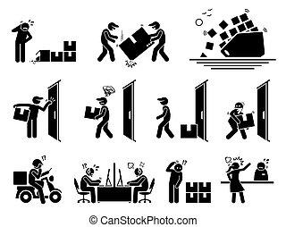 ícones, problema, despacho, logistic, set.