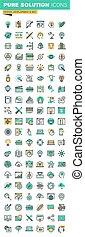 ícones, projeto fixo, linha, magra