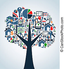 ícones, propriedade, árvore, serviço