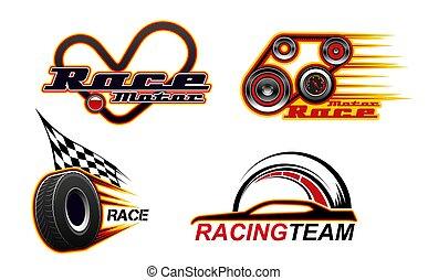ícones, raças, car, arrastar, motor corre, velocidade