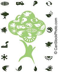 ícones, recicle, árvore verde