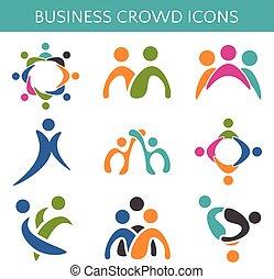ícones, relationship., negócio, torcida, ilustração, jogo, vetorial
