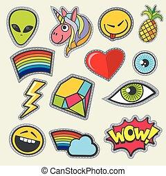 ícones, remendo, bolso, tshirt, vetorial, impressão, menina