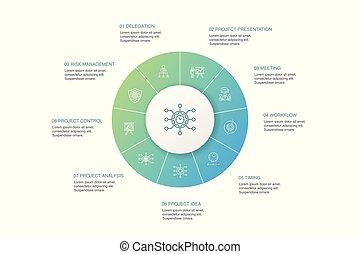 ícones, reunião, 10, apresentação, projeto, risco, workflow...