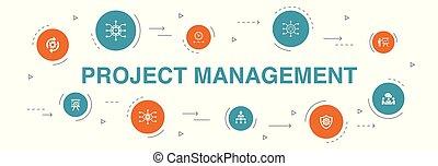 ícones, reunião, apresentação, projeto, risco, template., ...
