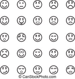 ícones, rosto, círculo, fundo, linha branca