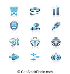 ícones, série, equipamento mergulho mergulhando, marinho, |