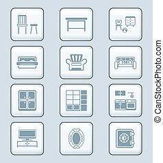 ícones, série, tech, lar, |, mobília