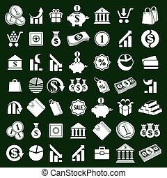 ícones, símbolos, tema, finanças, dinheiro, jogo, vetorial, simplistic
