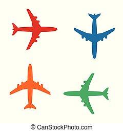 ícones, sólido, ilustração, cor isolada, avião, vetorial, pictograms, branca