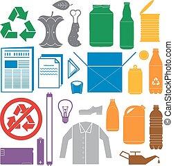 ícones, sólido, reciclagem, cor, cores, vetorial, vário, ...