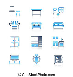 ícones, serie, lar, marinho, |, mobília