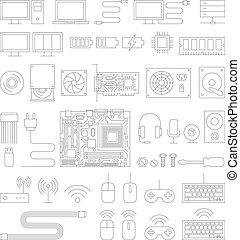ícones, set., computador, linha, hardware
