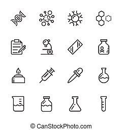 ícones, set., equipamento, vetorial, laboratório, linha