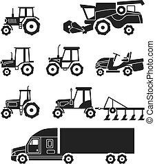 ícones, set., harvesters, cobrança, tratores, vetorial, combinar, agrícola, transporte