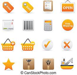 ícones, shopping, 14, amarela, |