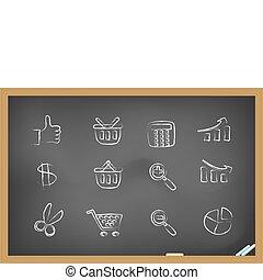 ícones, shopping, quadro-negro