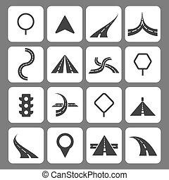 ícones, sinais tráfego, navegação, estrada, movimento
