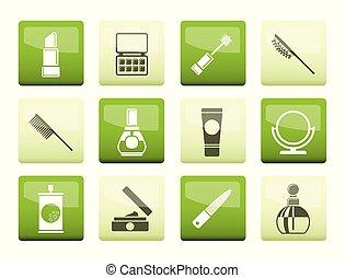 ícones, sobre, beleza, cosmético, experiência verde, maquiagem