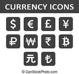 ícones, sobre, moeda corrente, branca, black., set.
