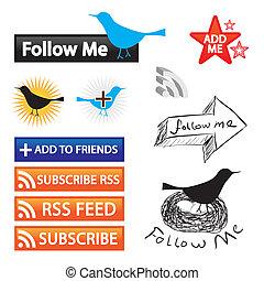 ícones, social, networking