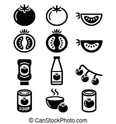 ícones, sopa tomate, ketchup, tomate