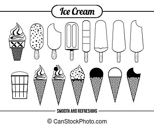 ícones, sorvete