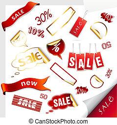 ícones, stickers., jogo, etiquetas, venda