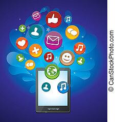 ícones, tabuleta, luminoso, social, mídia, pc