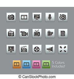 ícones, teia, cetim, /, caixa, multimedia