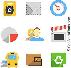 ícones, teia, cor, modernos, interface, cobrança, trendy