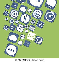 ícones, teia, interface, gráfico, voando