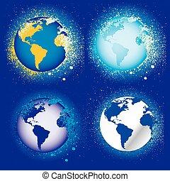 ícones, terra, globos, cobrança