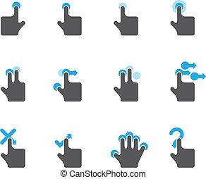 ícones, touchpad, -, duotone, gestos