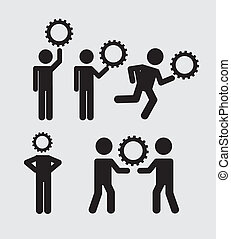 ícones, trabalho equipe