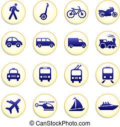 ícones, transporte, elementos, desenho