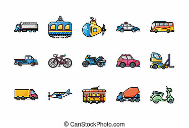 ícones, transporte, eps10, jogo