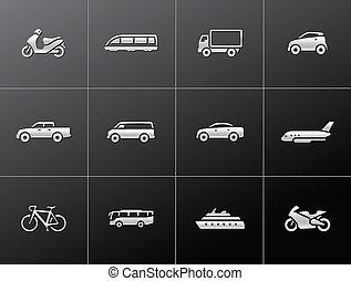 ícones, transporte, metálico, -