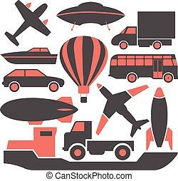 ícones, transporte, vector.