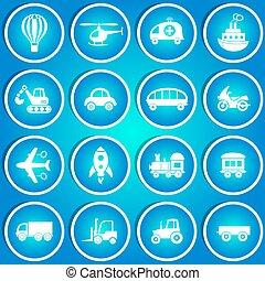 ícones, transporte