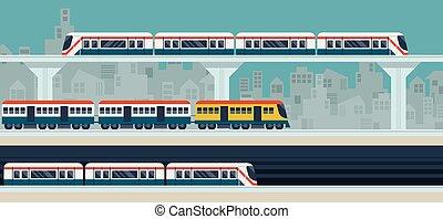 ícones, trem, céu, ilustração, metrô, objetos