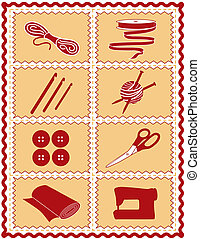 ícones, tricote, crochet, cosendo, arte