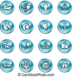 ícones, turismo, viagem, férias