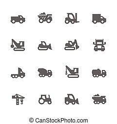 ícones, veículos construção, simples