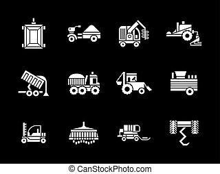 ícones, veículos, vetorial, branca, agricultura, glyph